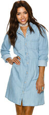 New Swell Women's Chambray Shirt Dress Cotton Chambray Denim