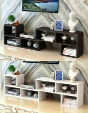 2 in 1 Adjustable Wooden Display Stereo TV Stand Cabinet CD DVD Bookcase Shelf