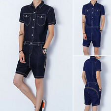 Fashion Summer Men's Casual Short Sleeve Short Pants Rompers Straight Jumpsuits