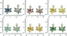 12pcs Czech Patina Antique Silver Tone Poinsettia Lilly Flower Charms Floral Pen
