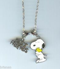 BEST FRIENDS & SNOOPY Hugging Woodstock Charm/Pendant & .925 Necklace - P668