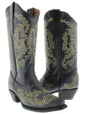 Womens Black Studded and Stitched Leather Western Cowboy Boots Snip Toe