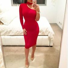 One Shoulder Long Sleeve Polyester Solid Color Knee Length Dress For Women