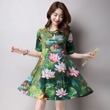 Stylish Cotton And Linen Fabric Summer Button Pocket Dress For Women