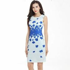 Women Summer Spring Wear Sleeveless O-neck Bodycon Mini Pencil Dress Plus Size