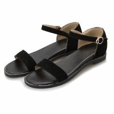 Women PU Leather White And Black Color Flat Sandal (Large Size 42 43)