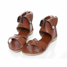 Women Back Zipper Cover Heel Summer Style Flat Sandal Plus Size