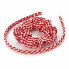 New Womens 8mm Two Piece Scrunchie and Gingham Headbands Hair Accessories