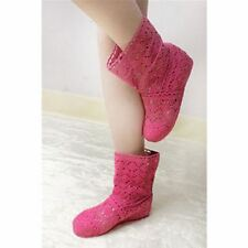 Women Pink Color Spring and Summer High-leg Hollow Ankle Flat Knitted Boots