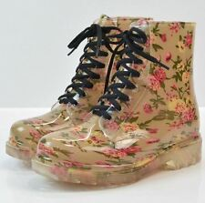 Women Spring Round Toe Rubber Floral Printed Lace-Up Ankle Boot Size 36-40