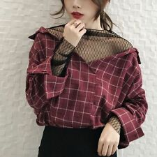 Women's Korean Style Fashion Plaid Pattern V Neck Casual Loose Top Blouse Shirt