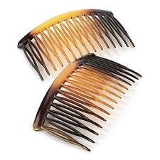 New Ladies Two Piece Tortoise Shell, Clear and Black Hair Tooth Side Comb Set