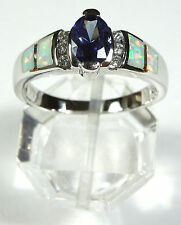 TANZANITE, WHITE TOPAZ & FIRE OPAL INLAY 925 STERLING SILVER RING SIZE 8