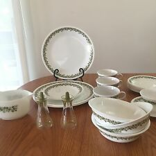 CORELLE CORNING~GREEN DAISY SPRING BLOSSOM DINNER PLATES BOWL GRAVY SALT &PEPPER