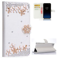 Flowers Bling Crystal Diamonds Flip PU leather Case Cover Skin For Samsung