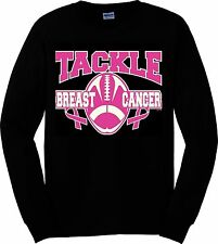 Tackle Breast Cancer Football Pink Ribbon Survivor Awareness Long Sleeve S-XL