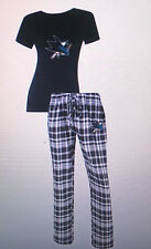 San Jose SHARKS Ladies 2 Piece Sleep Set V-Neck Tshirt & Flannel Pajama