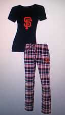 San Francisco GIANTS Ladies 2 Piece Sleep Set V-Neck T-shirt & Flannel Pajama