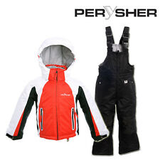 PERYSHER Extra Warm Kids Snowboard Ski Jacket and Pants Combo - Candy Apple Red