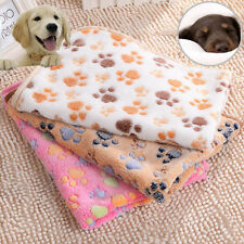 Pets Small Large Paw Print Dog Puppy Cat Warm Fleece Soft Blanket Beds Mat Cover