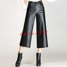 Womens faux Leather Wide Leg cropped Pants High Waist Mid Long Trousers OL Size