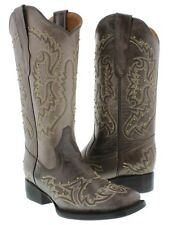 Womens Brown Gold Studded Stitched Leather Western Cowboy Boots Square Toe