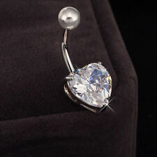 Round/Star/Heart Clear CZ Gem Belly Button Ring Navel Bar Piercing