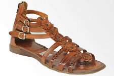 womens 224 gladiator style all real leather huarache sandal ankle strap brown