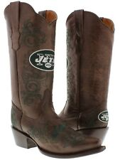 Womens NFL Collection New York Jets Brown Leather Western Cowboy Cowgirl Boots