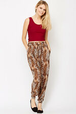 Womens Leopard Print Harem Stretchy Pants Size 8 - 12 Trousers