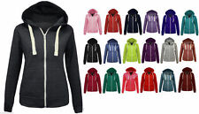 NEW LADIES WOMENS ZIP UP PLAIN FLEECE HOODIE JACKET SIZES XS S M L XL 16 18 20