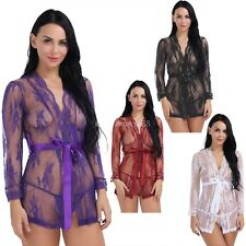 Women Lingerie Translucent Lace Floral Short G-string Nightgown Babydoll Dress