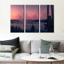 Twilight Bridge Landscape Canvas Prints Painting Poster Wall Art Decor Fine Art
