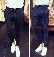 Mens Trendy Striped Stretch Waist Slim Fit Casual Pants cropped Trousers M-XXL