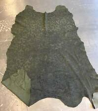 Military Green Pig Leather Suede Full Hide with Raised Cord Floral Decal FS782