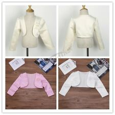 Flower Girl Shrug Baby Kid Satin Elegant Bolero Jacket Dress Cover Party Clothes