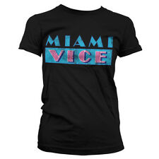 Officially Licensed Miami Vice Distressed Logo Women T-Shirt S-XXL Sizes