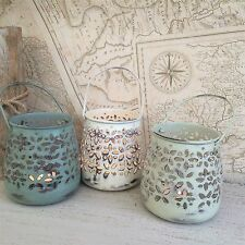 Set of Three Metal Tea Light Holders Shabby Candle Lantern Chic Vintage Wedding