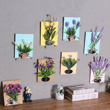 Wood Board With Artificial Flowers Wall Paintings Hanging Home Decoration Art