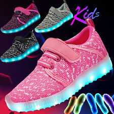 Kid Children USB Charge LED Light Up Shoes Boys Girls Luminous Casual Sneakers