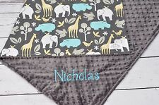 Handmade Personalized Baby Minky Toddler Elephant Zoo Crib Receiving Blanket