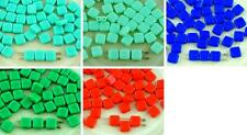 40pcs Opaque Tile Flat Square 2 Two Hole Czech Glass Beads 6mm