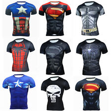 Mens Marvel Superhero Printed T Shirt Sports Tee Workout Tops Compression Jersey