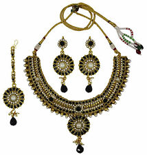 Traditional CZ Stone 3 Pc Necklace Set Bollywood Bridal Women Jewelry-BNS153-PAR