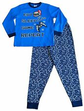 Boys LONG Pjs Eat Sleep Game repeat Zzz all over print Pyjamas Blue 7 to 13 Yrs