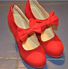 Womens lady WEDDING Faux Suede Bow Tie High Heel Platform Pumps Court Shoes 55t
