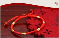 Hand Braided Red Lucky String Rope 14K Gold plated Adjustable Bracelet FINE