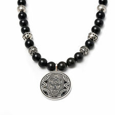 Men's GENUINE Black Onyx 10MM Bead Men Necklace w Stainless Steel Skull Coin Pen