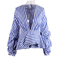 Plus Size Women's Deep V Neck Stripe Puff Sleeve Short Lotus Shirt Blouse Tops