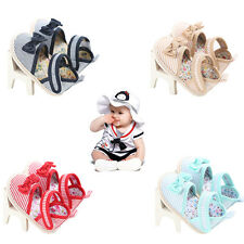 Hot Selling Baby Girls Shoes Summer stripe Bow cotton Toddler Princess Shoes